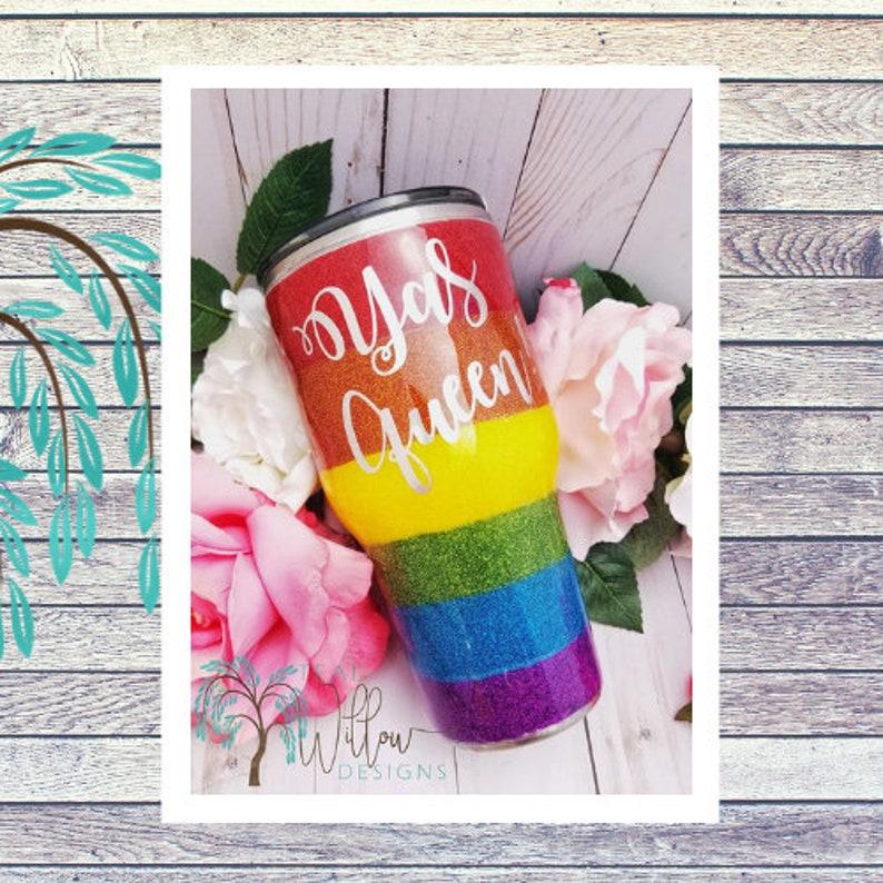 Rainbow Pride Glitter Tumbler image 0