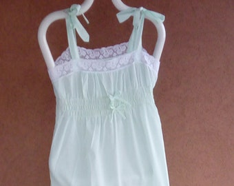 Vintage Nightgown 100% Baby Blue Nylon Embroidered Bodice Made by Gilead 1970's Lingerie Romantic Nightgown