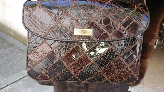1970s LEATHER ENVELOPE BAG Made in Italy