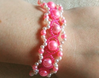 Handmade Pink Purl Bracelet