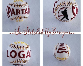 Embroidered Baseballs with your own special statistics! Great gift for the High School Senior, Father's Day,  Baseball Players or Coaches.