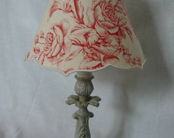 """Light patina with lampshades """"flowers on Ecru canvas"""""""