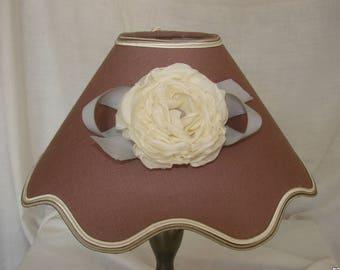 Fabric Lampshade, purple flax and Camellia