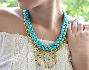 Turquoise Crystal Weaved Necklace