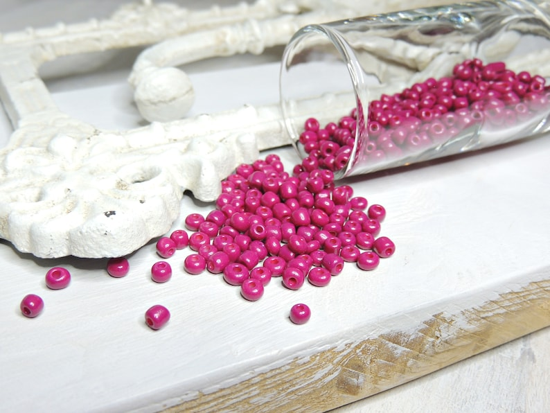 20g Seed Beads size 3-4 mm glass beads dark pink
