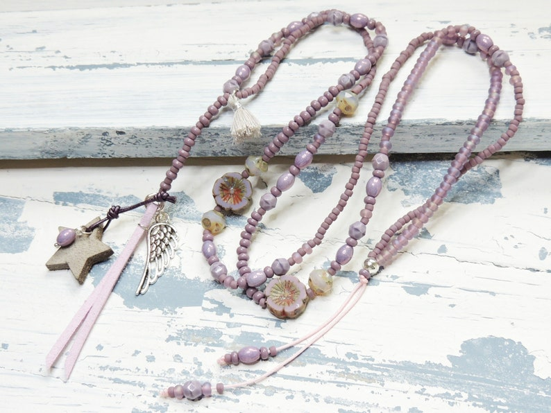 Long Necklace-glass beads-leather star-lilac-