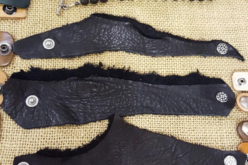 SassanachwoodlandcosplayOutlanderViking Rustic Rough edge Black Leather Wrap Cuffceltic wristbandHuntress arm candy