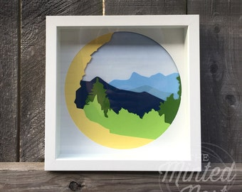 Smoky Mountains Layered Paper Cut Art - Alum Cave - The Great Smoky Mountains National Park