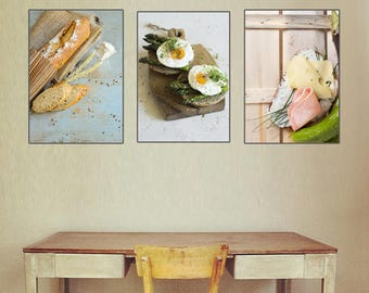 Bread print. Breakfast print. Kitchen decor. Fried egg art. Food photography. Kitchen wall art. Food poster. Food decor. Set of 3 prints