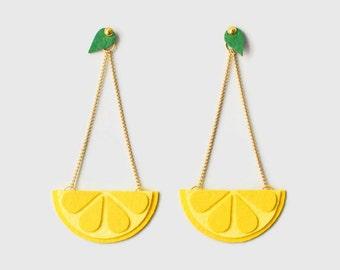 Lemon earrings Fruit slice earrings Citrus earrings Lemon accessories Fruit miniature Fruit lover earrings Beach earrings Yellow earrings