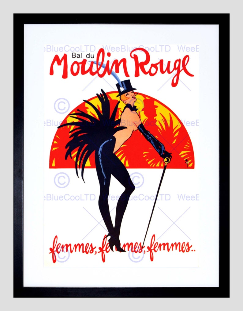 Wee Blue Coo Ad Moulin Rouge Dancers Photo Framed Wall Art Print