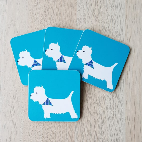Cute Blue Westie Coaster