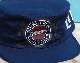 4c6b0c5344f8e Vintage 80 s   90 s Miller Lite Beer Conductor s Snapback Hat Cap Wrap  Around Graphics Made in Canada