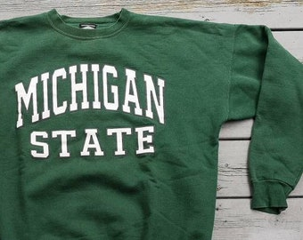 1aee44fbd6a Vintage 80 s 90 s Michigan State Spartans Green Crew-neck Sweatshirt Made  in Canada XL