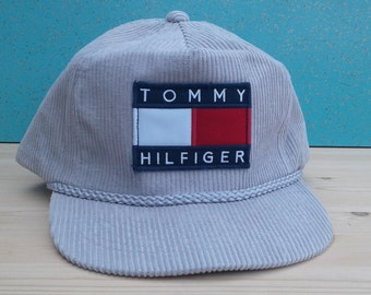 9c40aaf7d981b Custom Grey Corduroy Tommy Hilfiger Strapback Deadstock Hat Vintage Baseball  Cap
