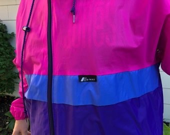 9d1e5a82d3e1 Vintage 80 s   90 s K-Way Color block Pink   Blue   Purple Packable  Windbreaker Jacket Made in Canada XL