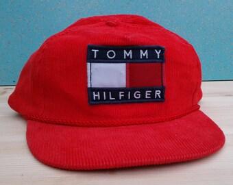 db56157177b9a Custom Red Corduroy Tommy Hilfiger Strapback Deadstock Hat Vintage Baseball  Cap