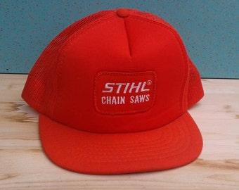 a6522f9d7c66e Vintage 80 s DEADSTOCK Stihl Chain Saws bright orange trucker mesh  cheesegrater cap hat