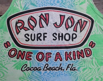 """Vintage 80's / 90's Ron Jon Surf Shop """"One of a kind"""" / Cocoa Beach, Fla. / All over print / tank top / muscle shirt / Made in USA XL"""
