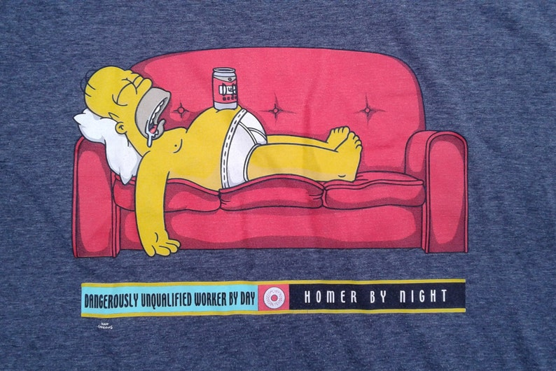 Vintage 1998 Homer Simpson The Simpsons Grey T Shirt Large Etsy