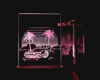 Drive GTA Acrylic 3d LED Table Lamp, Bedroom Night Light, Bedside Night Lamp,  Decorative Modern Lighting, Wood LED Lamp, Desk Decor Lights