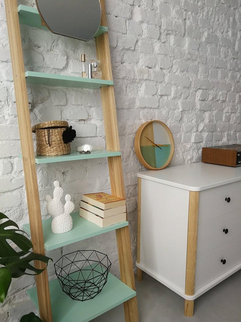 Ashme Mint Ladder Shelf With Mirror Narrow Shelving Unit For Hallway Bedroom Bathroom Shelves Storage Stand