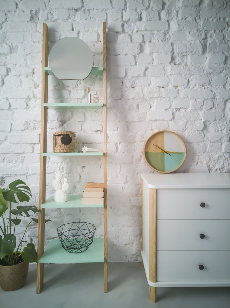 Ashme Display Shelves With Mirror Narrow Shelving Unit For Bedroom Hallway Bathroom Shelves Storage Stand For Office Dressing Table