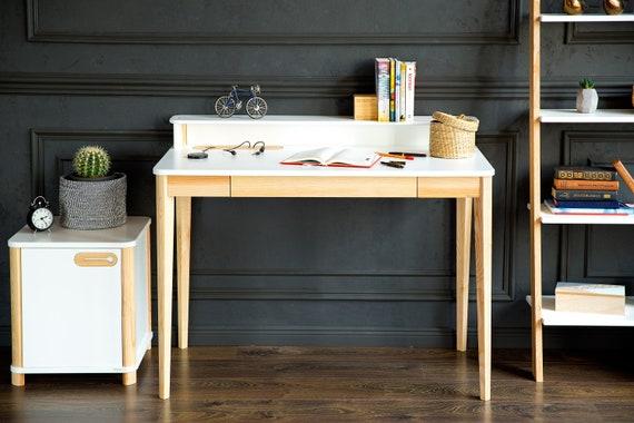 Ashme blanc bureau base de table en bois rangement pour les etsy