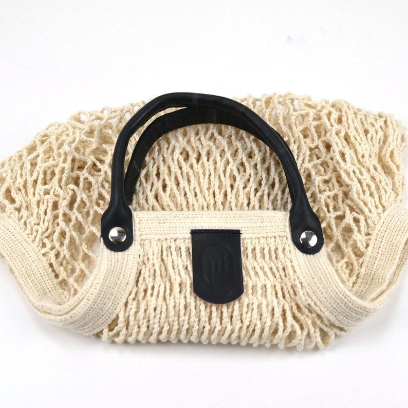 crochet tote bag crochet purse string bag organic cotton net bag grocery tote bag mesh bag short black beach tote eco bag