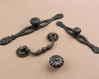French Chic Handle Pull Knob Pulls Handles with Back Plate / Kitchen Cabinet Pull Handle Knobs Furniture Hardware