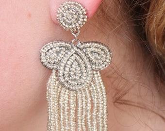 Silver Champaign Seed Bead Tassel Earrings