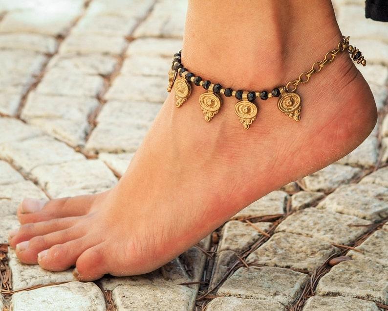 Handmade Anklet  Women Anklet  Women Ankle Bracelet  Black Anklet  Hippie Anklet  Beach Anklet  Oriental Anklets