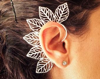 Wrap Earring // Tribal Ear Wrap // Silver Plated Leaf Ear Wrap // Ear Cuff // Ear Climber // Ear Crawler // Ear Jacket // Leaf Ear Cuff
