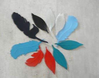 set of 10 feathers leather (2 available), multicolored tones, customisation, jewelry