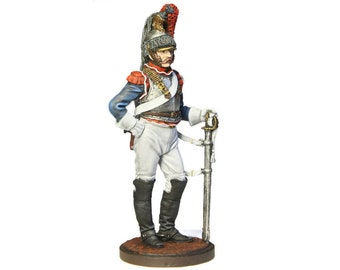 Tin Soldier - French cuirassier, French Soldier, Historical Miniature, Napoleonic Wars, 54 mm, Pewter Napoleonic Soldier, Tin Soldier