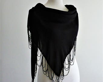 "Handmade shawl ""Elegance"" embroidered in black beads"