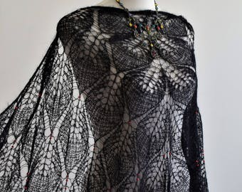 "Handknit black shawl ""Mohair chic"" embroidered in red beads"