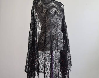 """Handknit black shawl """"Mohair chic"""" embroidered in red beads"""
