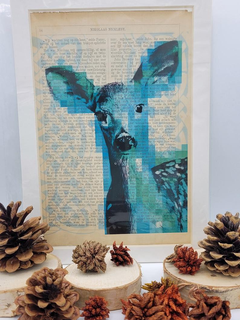 Deer with Celtic knot background-A4 Print on vintage book image 0
