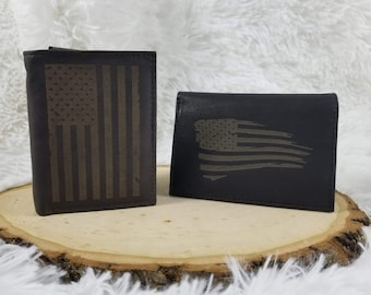 50367c9a0eb60 Laser Engraved Leather Wallet - American Flag - Custom Laser Engraved - USA  Wallet - Americana