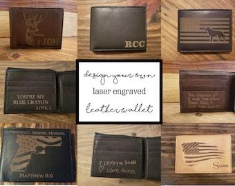 Custom Laser Engraved Genuine Leather Wallet, Custom Wallet, Personalized Wallet, Personalized Gift, Design Your Own Wallet