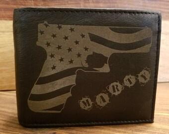 cf2531cc97604 American Flag Gun - Laser Engraved Leather Wallet - Customizable