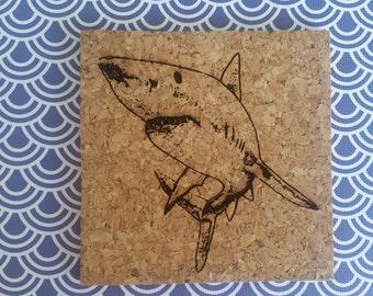Laser Engraved Shark Coaster Set // Cork Coasters // Gifts for Shark Lovers