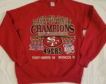 05ade8f24ee Rare Vintage 1989 San Francisco 49ers Back to Back Champions Jerzees Red  Crewneck Sweater NFL 80s 1980s Superbowl Mens Size Medium Niners