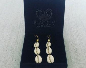 3 Drop Cowrie Shell Earrings