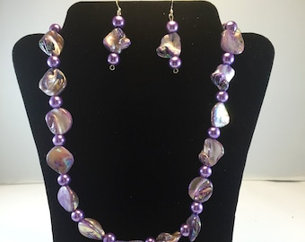 Abalone, purple, glass pearls, Sterling silver