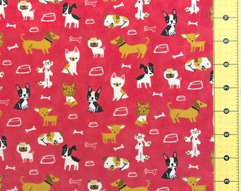 Woof Woof Meow Pink Tan Cats w Yarn Mouse on Cream BY YARDS Moda Cotton Fabric