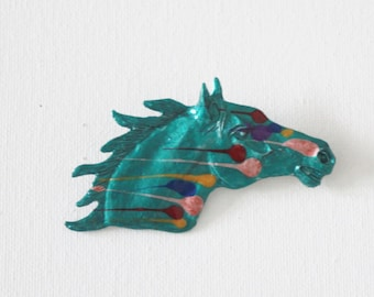 Hand Painted Large Horse Head Pin - Teal