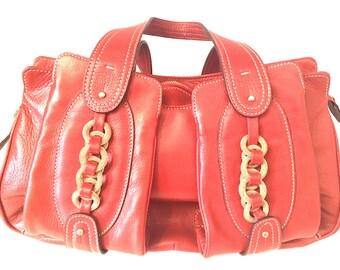 66c8ee74431145 Vintage Rena Lange Henkletasche Orange & Gold
