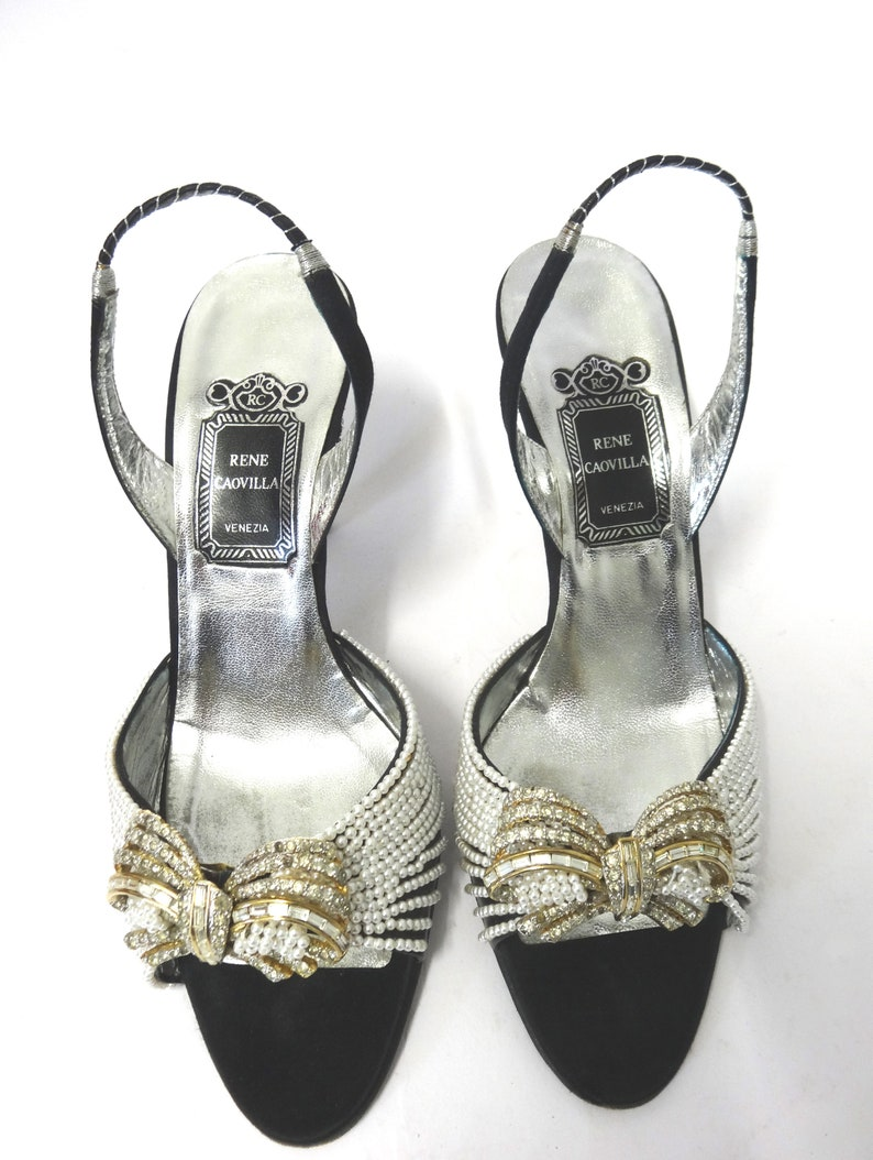 Vintage Rene Caovilla Cinderella slingback high heels sandals with shocks